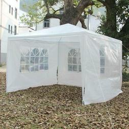 10'x10' White Canopy Party Wedding Tent Pavilion Cater 3 Sid