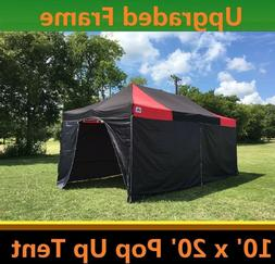 10'x20' Pop Up Canopy Party Tent with Solid Walls - Black Re