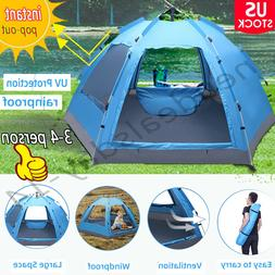 3-4 Person Automatic Instant Pop-Up Camping Tent Double Laye
