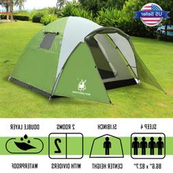 4 Person Waterproof Camping Tent Hiking Double Layer 2-Room