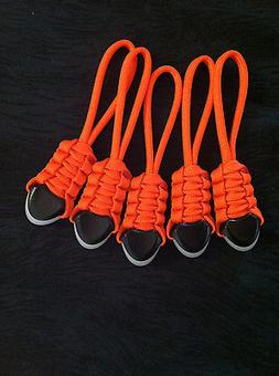 Paracord Zipper Pulls - fits Backpacks, Day Bags, Tents- Or