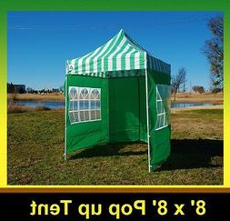 8'x8' Pop Up Canopy Party Tent - Green Stripe