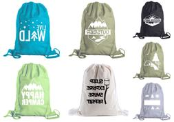 Camping Cotton Drawstring Backpack for Birthday parties and