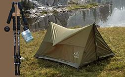 Trekking Pole Backpacking Tent Combo Pack, Includes Aluminum