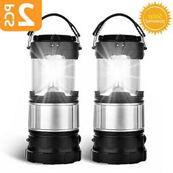 2x USB Solar Portable Outdoor LED Rechargeable Camping Lante