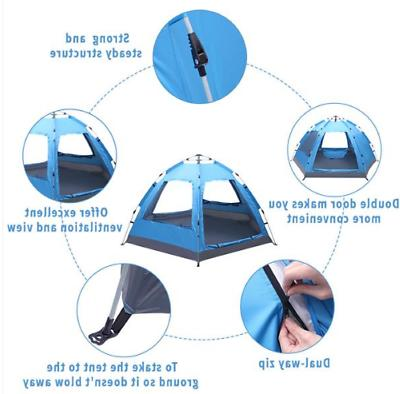 3-4 Instant Pop-Up Camping Tent Layer
