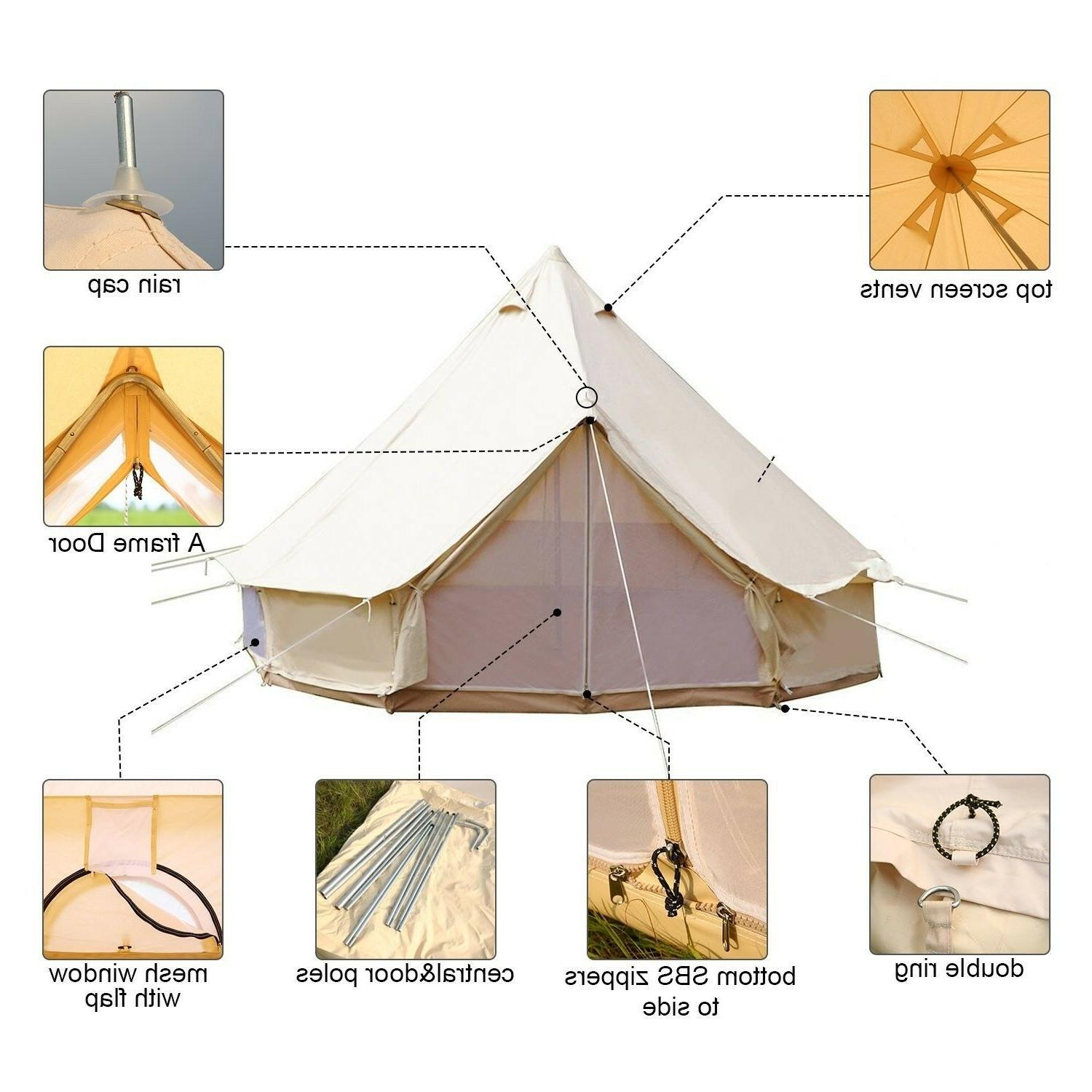 6 Meter Waterproof Luxury Bell Tent Family Glamping Tent Can