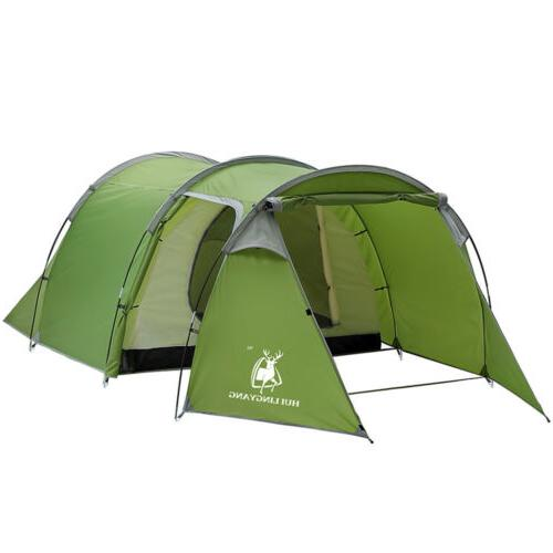 Large Outdoor Camping Hiking Tent 5-6 Person 2-Room Cabin Tu