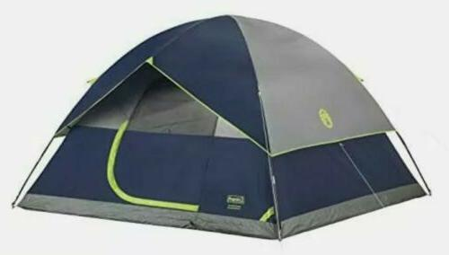 Coleman 4 Person Camping Sundome Tent 9' X 7' Navy / Grey w/
