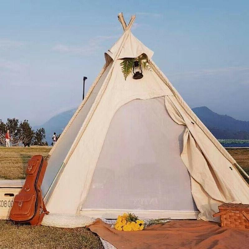 us shipped cotton canvas camping pyramid tent