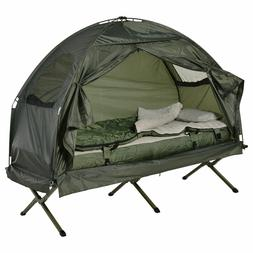 Outdoor 1-person Folding Tent Elevated Camping Cot w/Air Mat